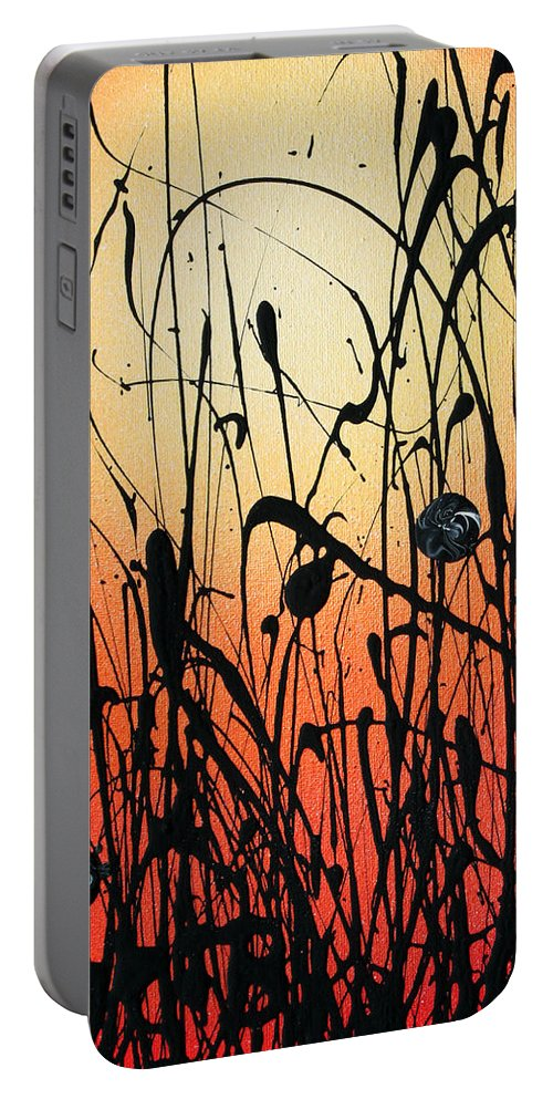 Orange Portable Battery Charger featuring the painting Two Orbs Meet In A Field At Sunset by Ric Bascobert