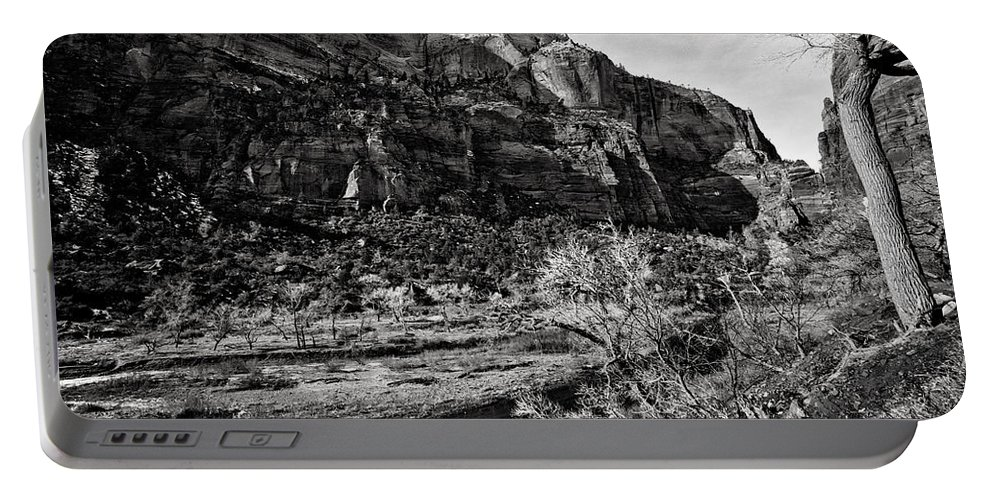 Art Photograph Portable Battery Charger featuring the photograph Two Peaks - Bw by Christopher Holmes