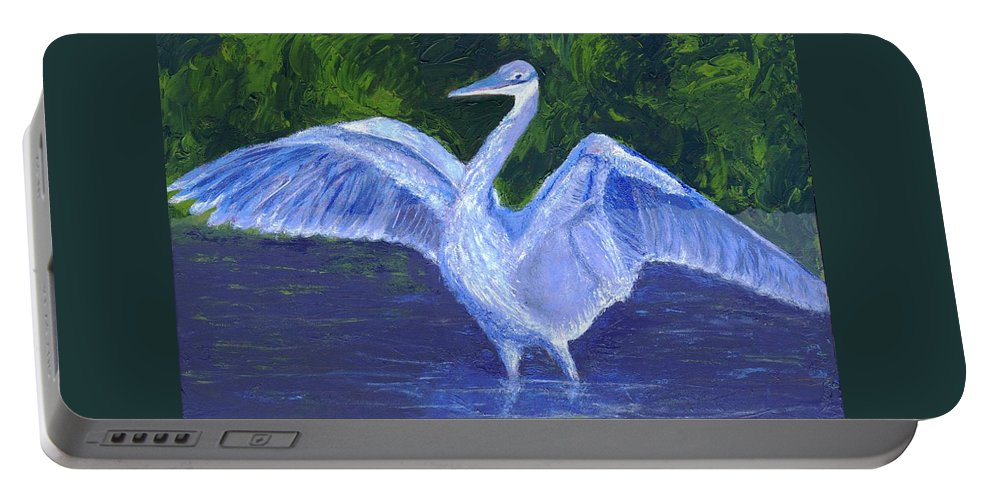 Blue Heron Portable Battery Charger featuring the painting Two Point Landig by Alice Faber