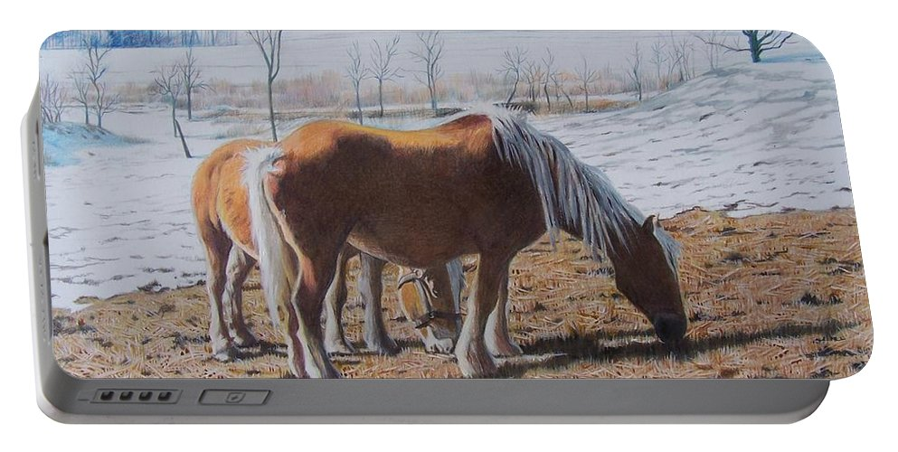 Horses Portable Battery Charger featuring the mixed media Two Ponies In The Snow by Constance Drescher