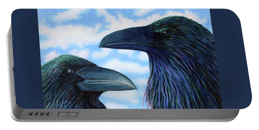 Raven Portable Battery Charger featuring the painting Two Ravens by Brian Commerford