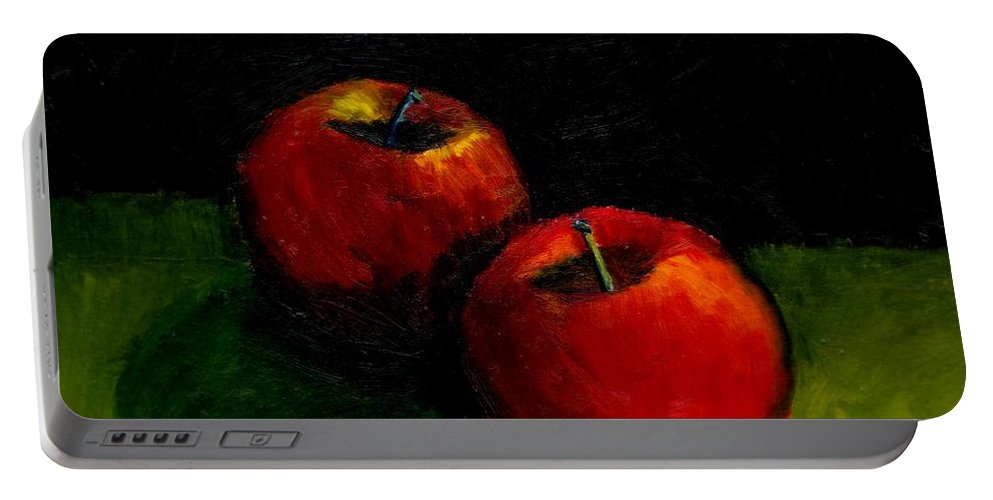 Red Portable Battery Charger featuring the painting Two Red Apples Still Life by Michelle Calkins
