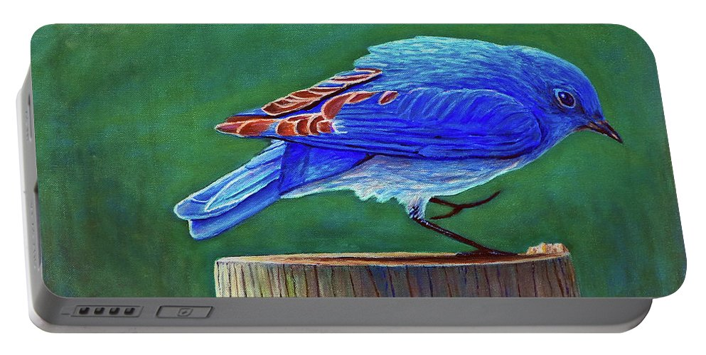 Bluebird Portable Battery Charger featuring the painting Two Step by Brian Commerford