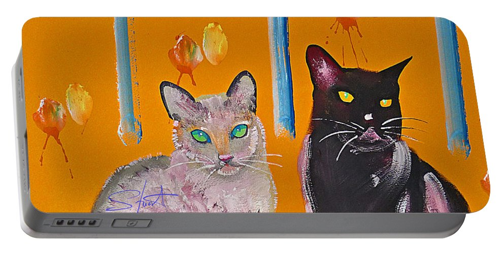 Cat Portable Battery Charger featuring the painting Two Superior Cats With Wild Wallpaper by Charles Stuart