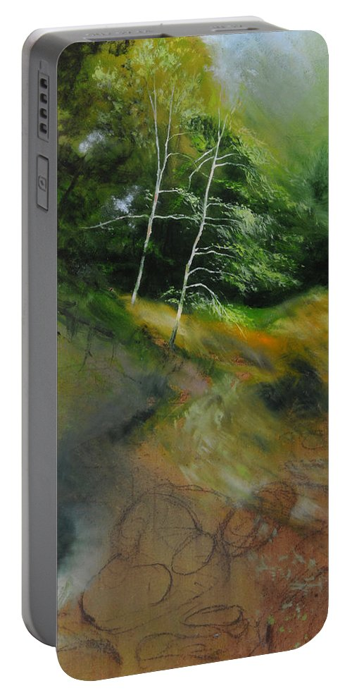 Landscape Portable Battery Charger featuring the painting Two Trees In Light by Harry Robertson
