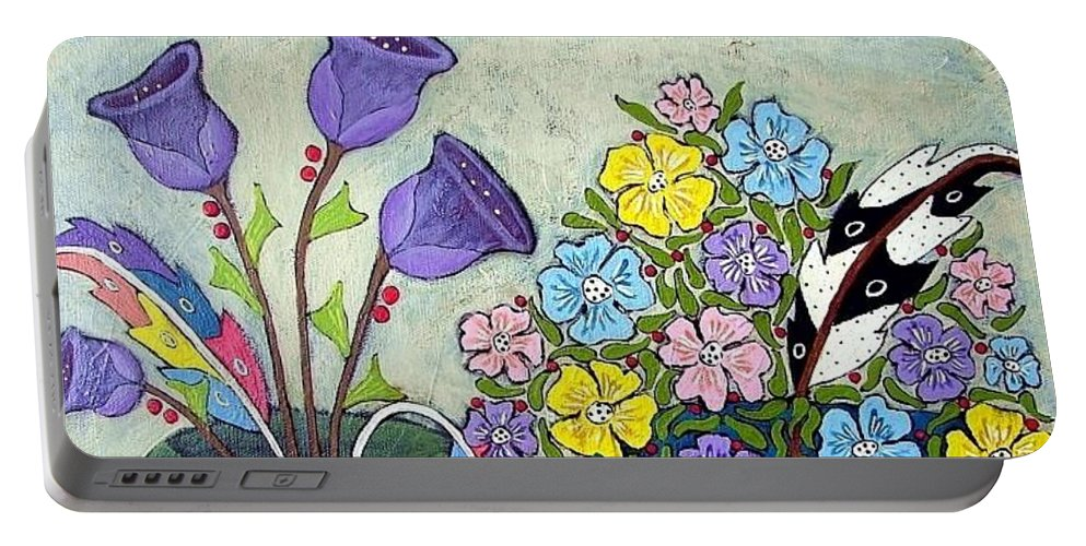 Floral Portable Battery Charger featuring the painting Two Vases by Linda Stewart