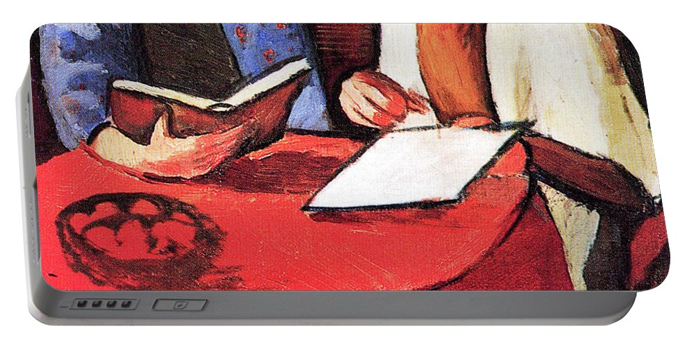Two Portable Battery Charger featuring the painting Two Women At The Table By August Macke by August Macke