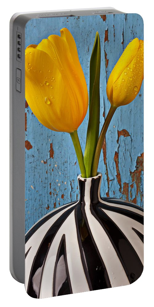 Two Yellow Portable Battery Charger featuring the photograph Two Yellow Tulips by Garry Gay