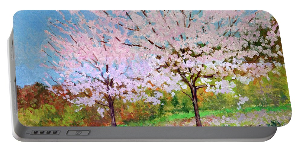 Landscape Portable Battery Charger featuring the painting Two Yoshinos by Keith Burgess