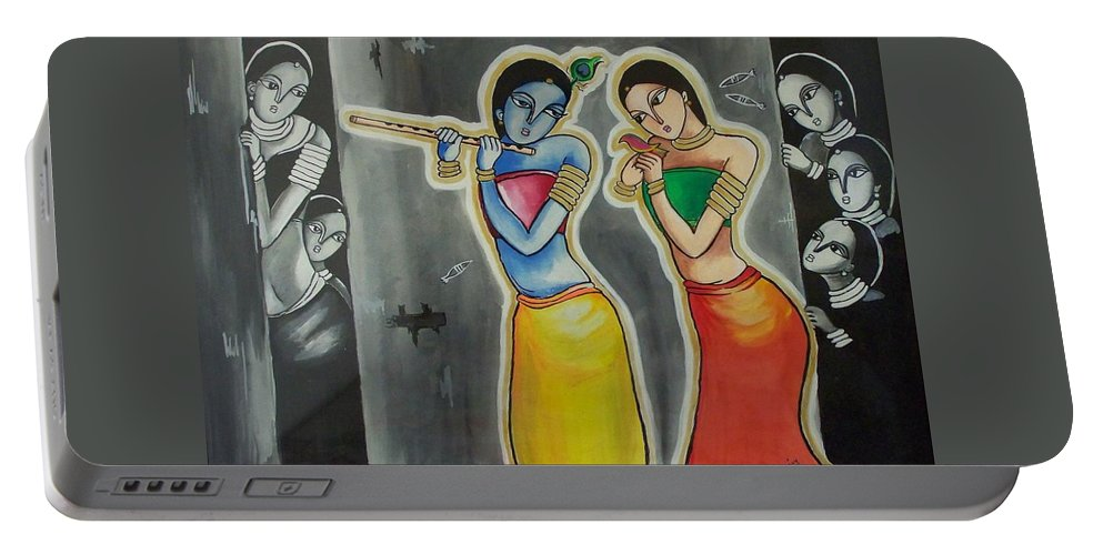Love Portable Battery Charger featuring the painting Gulzar..mora Gora Rang by Ivy Sharma