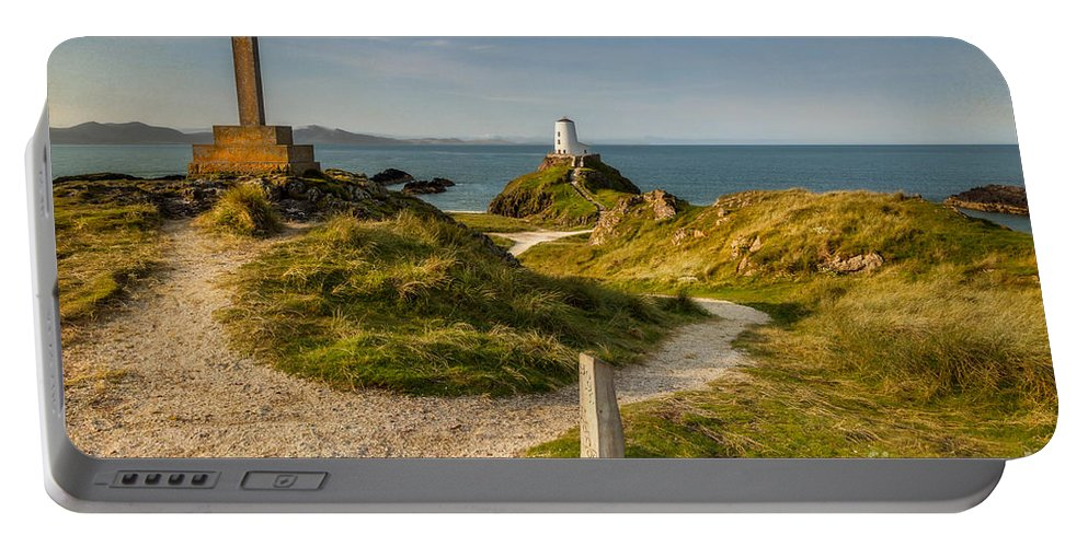 Lighthouse Portable Battery Charger featuring the photograph Twr Mawr Lighthouse by Adrian Evans