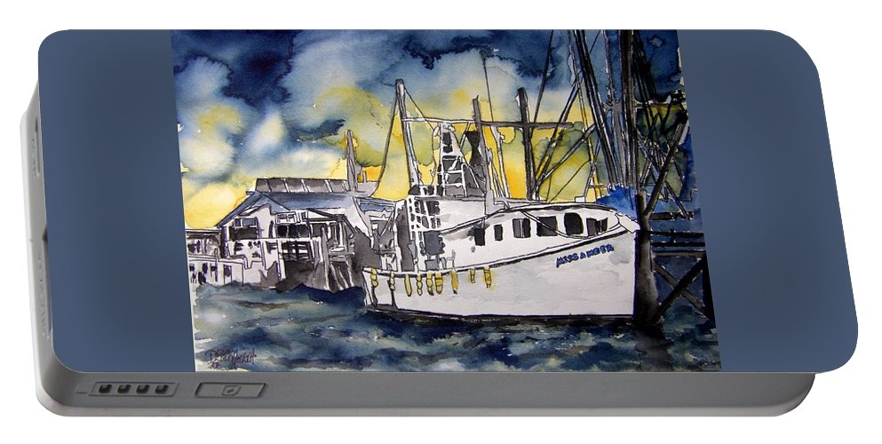 Georgia Portable Battery Charger featuring the painting Tybee Island Georgia Boat by Derek Mccrea