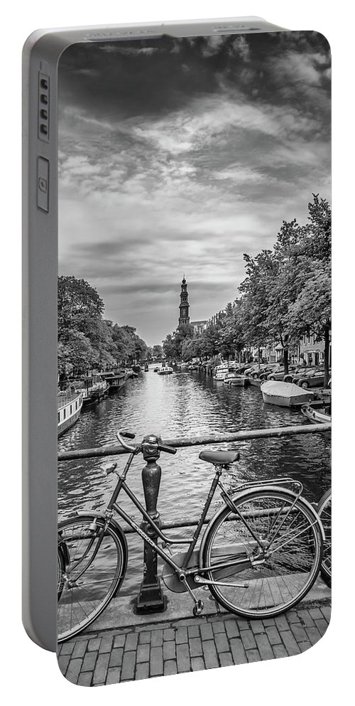 Amsterdam Portable Battery Charger featuring the photograph Typical Amsterdam - Monochrome by Melanie Viola