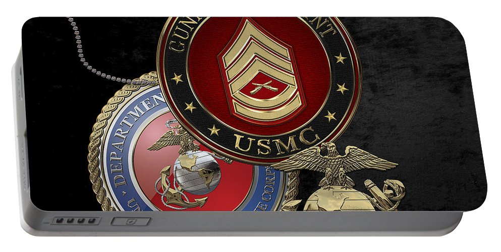 Military Insignia 3d By Serge Averbukh Portable Battery Charger featuring the digital art U. S. Marine Gunnery Sergeant Rank Insignia Over Black Velvet by Serge Averbukh