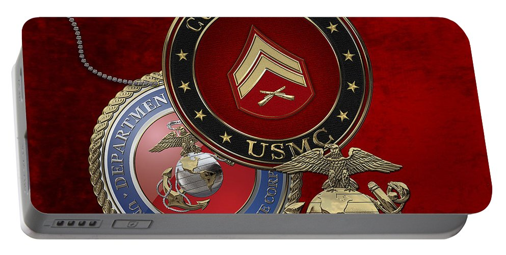 �military Insignia 3d� By Serge Averbukh Portable Battery Charger featuring the digital art U. S. Marines Corporal Rank Insignia Over Red Velvet by Serge Averbukh