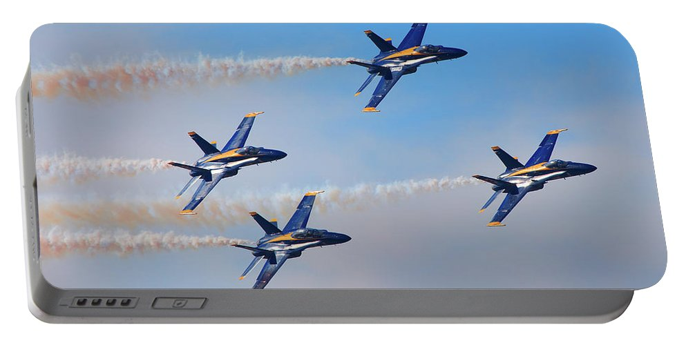 Navy Portable Battery Charger featuring the photograph U S Navy Blue Angeles, Formation Flying, Smoke On by Bruce Beck