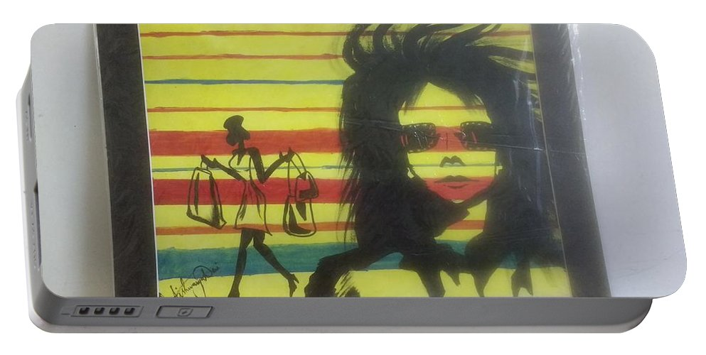 Acrylic Portable Battery Charger featuring the painting Uber Shopping by Aishwarya Suraj