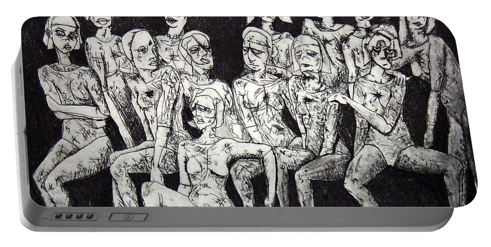 Etching Portable Battery Charger featuring the print Ugly Girls by Thomas Valentine