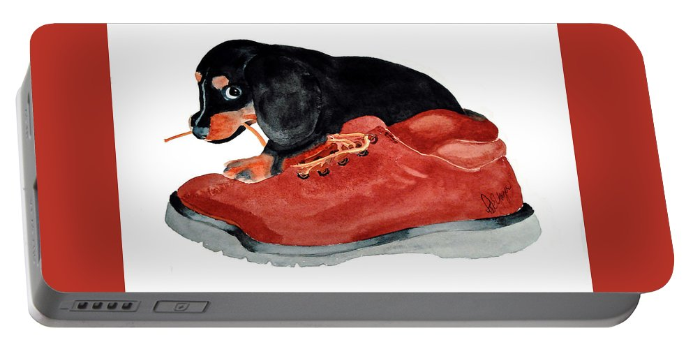 Puppy Portable Battery Charger featuring the painting Uh Oh by Pat Yager