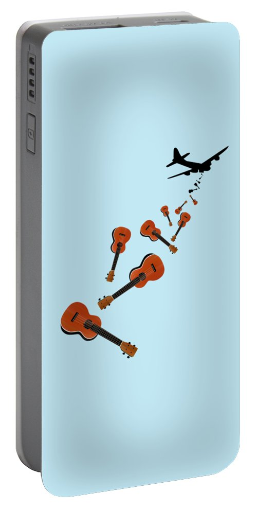 Ukulele Portable Battery Charger featuring the digital art Ukes Not Nukes by Early Kirky