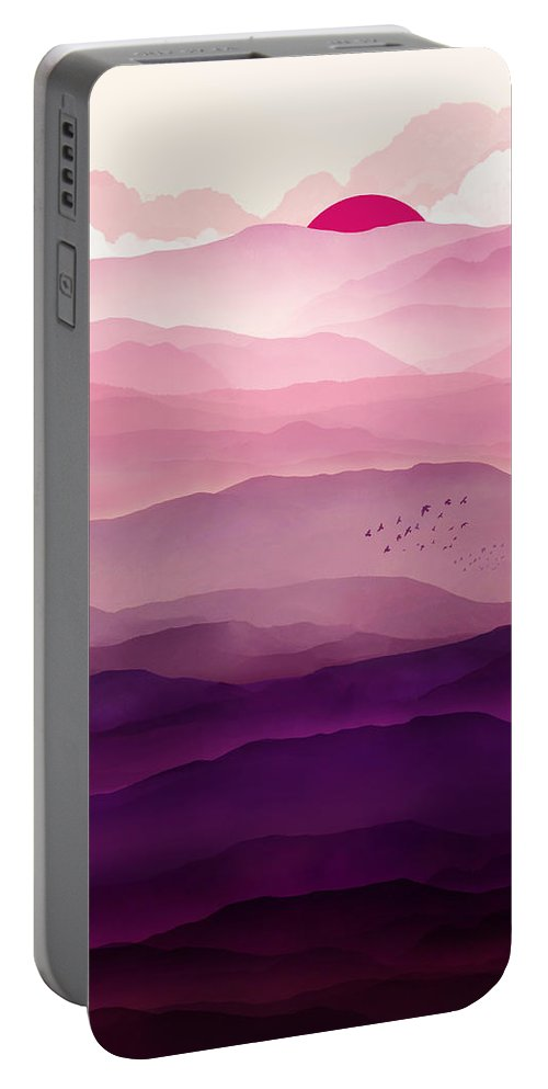 Violet Portable Battery Charger featuring the digital art Ultraviolet Day by Spacefrog Designs