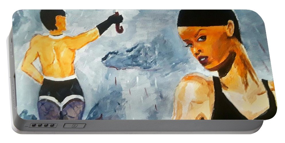 Rihanna Portable Battery Charger featuring the painting Umbrella by Jeremy Phelps