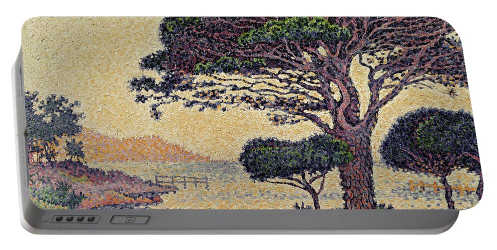 Umbrella Pines At Caroubiers Portable Battery Charger featuring the painting Umbrella Pines At Caroubiers by Paul Signac