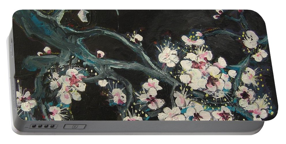 Ume Blossoms Paintings Portable Battery Charger featuring the painting Ume Blossoms2 by Seon-Jeong Kim