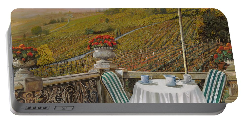 Vineyard Portable Battery Charger featuring the painting Un Caffe by Guido Borelli