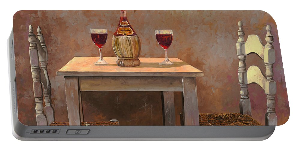 Chianti Portable Battery Charger featuring the painting un fiasco di Chianti by Guido Borelli