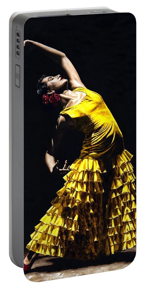 Flamenco Portable Battery Charger featuring the painting Un Momento Intenso Del Flamenco by Richard Young