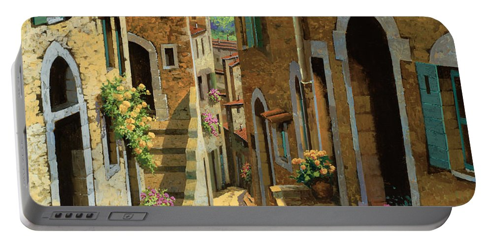 Village Portable Battery Charger featuring the painting Un Passaggio Tra Le Case by Guido Borelli