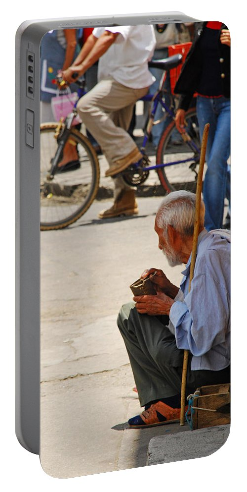 Beggar Portable Battery Charger featuring the photograph Un Peso Por Favor by Skip Hunt