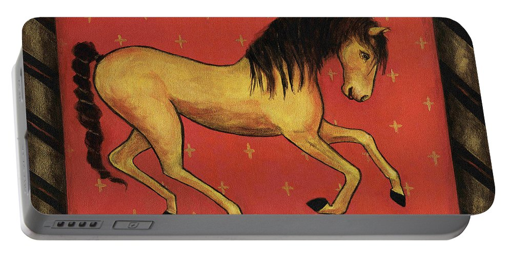 Horse Portable Battery Charger featuring the painting Unbridled ... From The Tapestry Series by Terry Webb Harshman