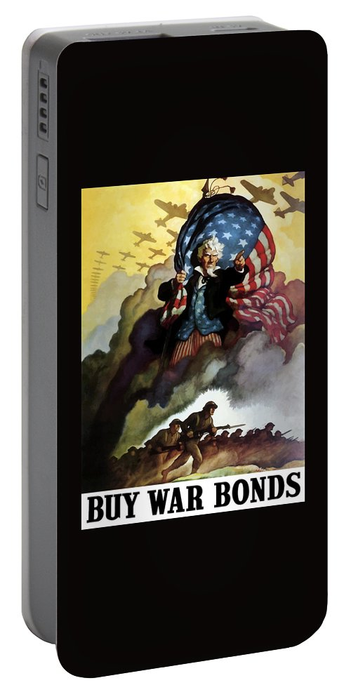 Uncle Sam Portable Battery Charger featuring the painting Uncle Sam - Buy War Bonds by War Is Hell Store