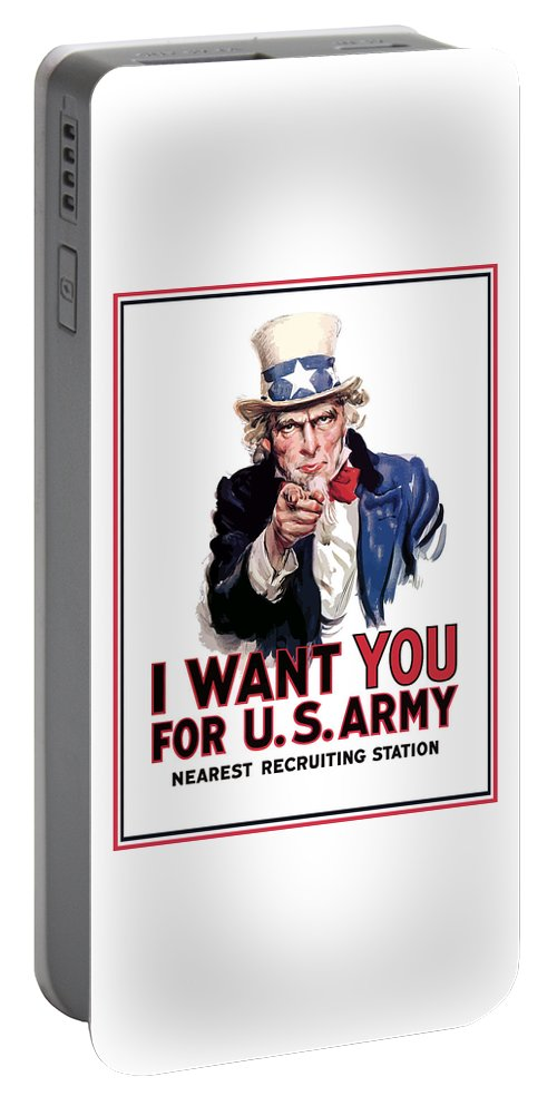 Ww2 Portable Battery Charger featuring the painting Uncle Sam -- I Want You by War Is Hell Store