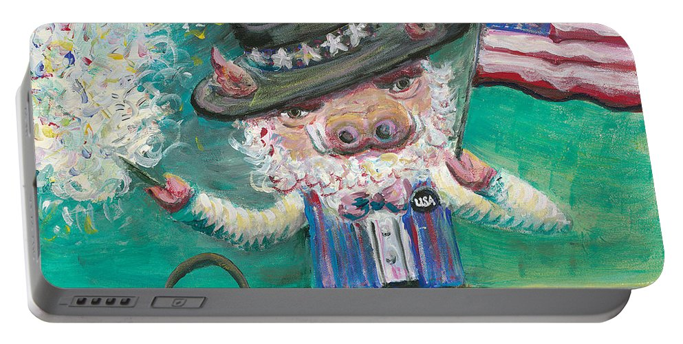 Fourth Of July Portable Battery Charger featuring the painting Uncle Spam by Nadine Rippelmeyer