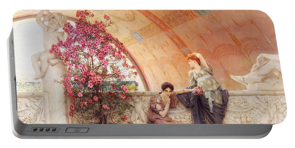 Unconscious Portable Battery Charger featuring the painting Unconscious Rivals by Sir Lawrence Alma Tadema