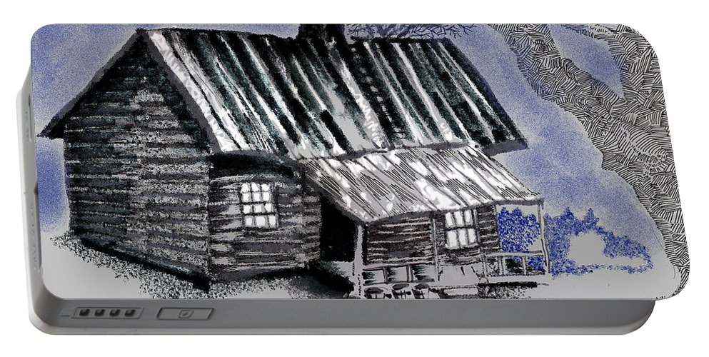Cabin Portable Battery Charger featuring the drawing Under a Tin Roof by Seth Weaver