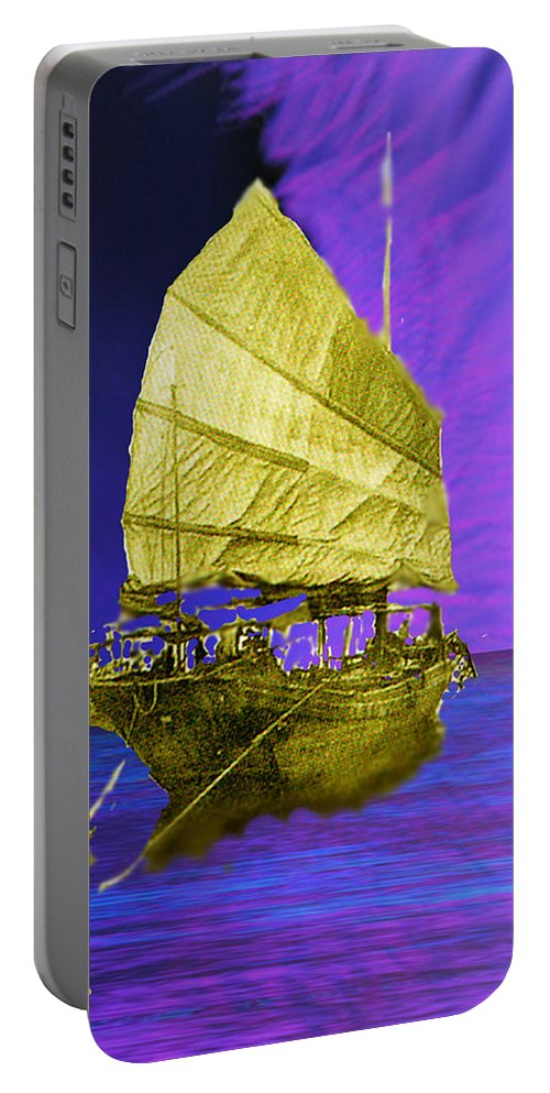 Nautical Portable Battery Charger featuring the digital art Under Golden Sails by Seth Weaver