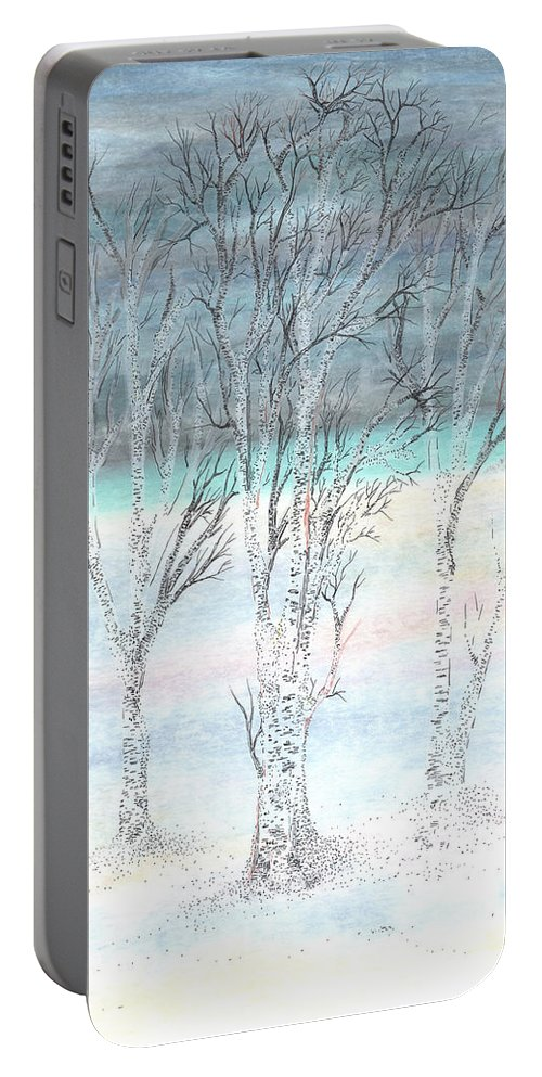 Birch Portable Battery Charger featuring the painting Under Northern Skies by Regina Valluzzi