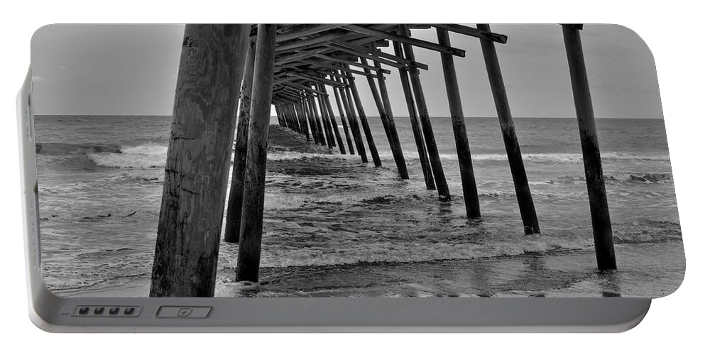 Pier Portable Battery Charger featuring the photograph Under The Boardwalk Alantic Beaches Nc by Tommy Anderson