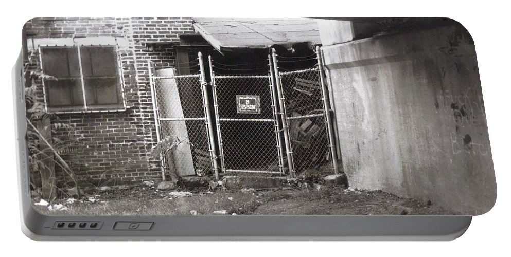 Black And White Photograph Portable Battery Charger featuring the photograph Under The Bridge by Thomas Valentine