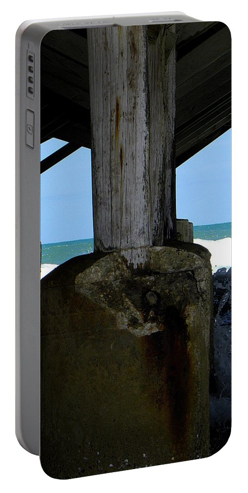 Daytona Portable Battery Charger featuring the photograph Under The Daytona Beach Pier 000 by Chris Mercer