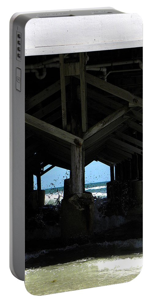 Daytona Portable Battery Charger featuring the photograph Under The Daytona Beach Pier 002 by Chris Mercer