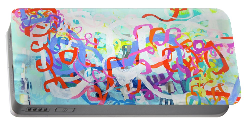 Abstract Portable Battery Charger featuring the painting Under The Electric Candelabra by Claire Desjardins