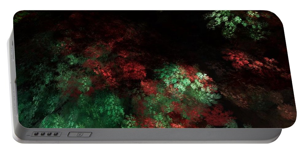 Abstract Digital Painting Portable Battery Charger featuring the digital art Under The Forest Canopy by David Lane