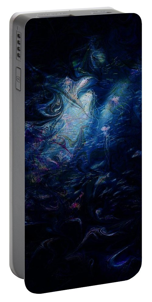 Abstract Portable Battery Charger featuring the digital art Under the Sea by William Russell Nowicki