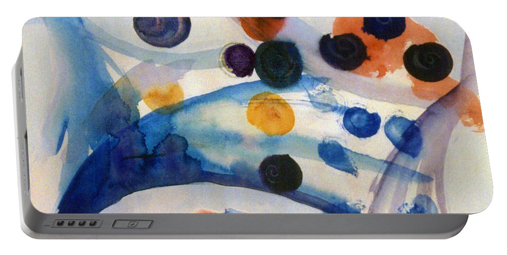 Abstract Portable Battery Charger featuring the painting Under The Sea by Steve Karol