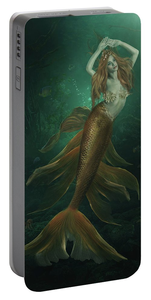 Mermaid Portable Battery Charger featuring the digital art Under The Sea by Susan Gerardi